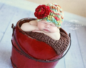 NEW Yarn List-Newborn Hat PATTERN, Amelia Knitting Pattern, For Photo Prop, Made With Super Bulky Handspun Art Yarn-Newborn-6 Months-New