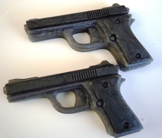 2 Pistol Soaps Dark Silvery Gray - SQUEAKY CLEAN SCENT - Vegan guest bath decorative gun rifle shoot bullet
