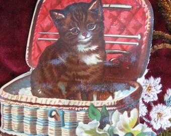 Cat in a Basket - Antique Paper Ephemera