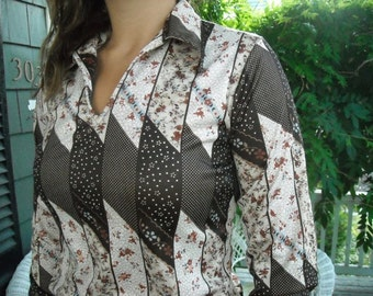 Seventies Polyester Blouse Western Floral Spring Into Fall Brown Cream