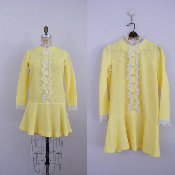 Vintage 1960s Mod Yellow Mini Dress