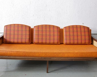 Amazing Vintage / Retro Orange Couch - Reversible cushions & Rattan sides- Super Mod