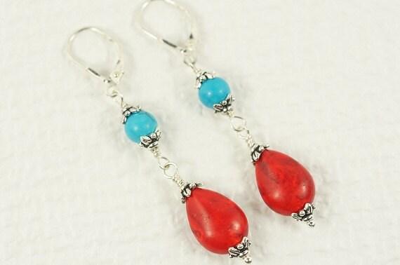 Chandelier Earrings Natural Turquoise Sleeping Beauty Earrings  Sterling Silver Earrings Tibetan Earrings