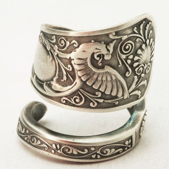 Spoon Ring Vintage Victorian Gryphon Sterling Silver Spoon Ring, Handmade in Your Size (2861)