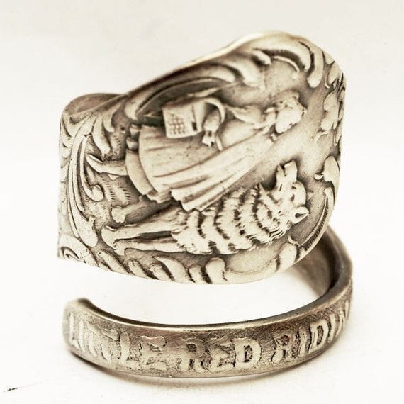 Little Red Riding Hood Sterling Silver Spoon Ring, Handcrafted in your size (3043)