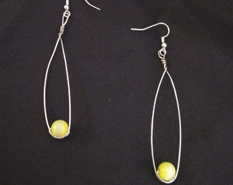 Silver Wire Teardrop Earrings with Yellow Glass Beads