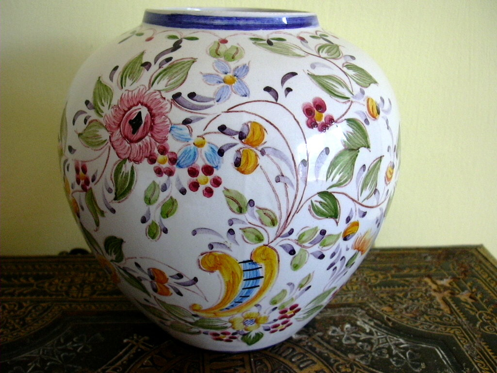 Hand Painted Portuguese Art Pottery Vase Floral Flowers