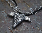 Fine Silver Laced Heart Wings and Crystal Necklace