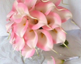 Reserved Pink Calla lily wedding bouquet real touch mini pink calla lily bridal bouquet