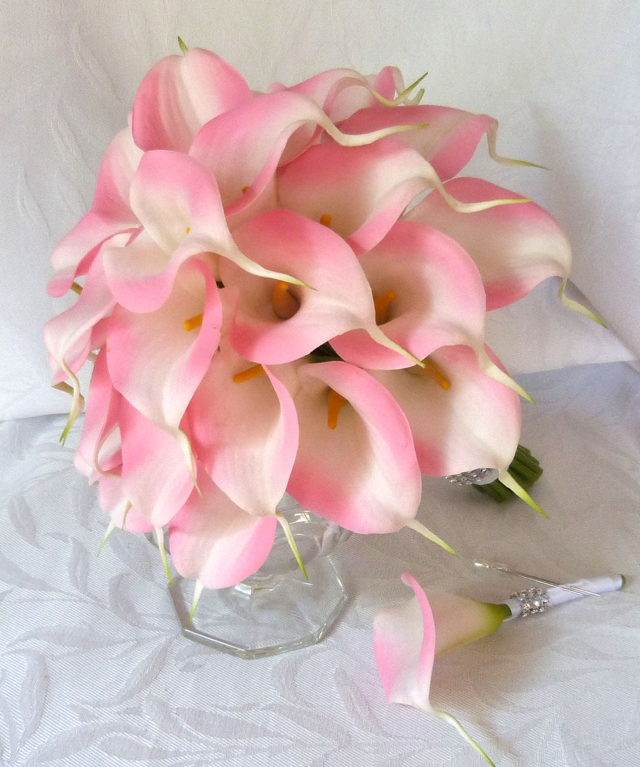 Simple Lily Bridal Bouquet : Pink calla lily wedding bouquet simple by churchmousecreations