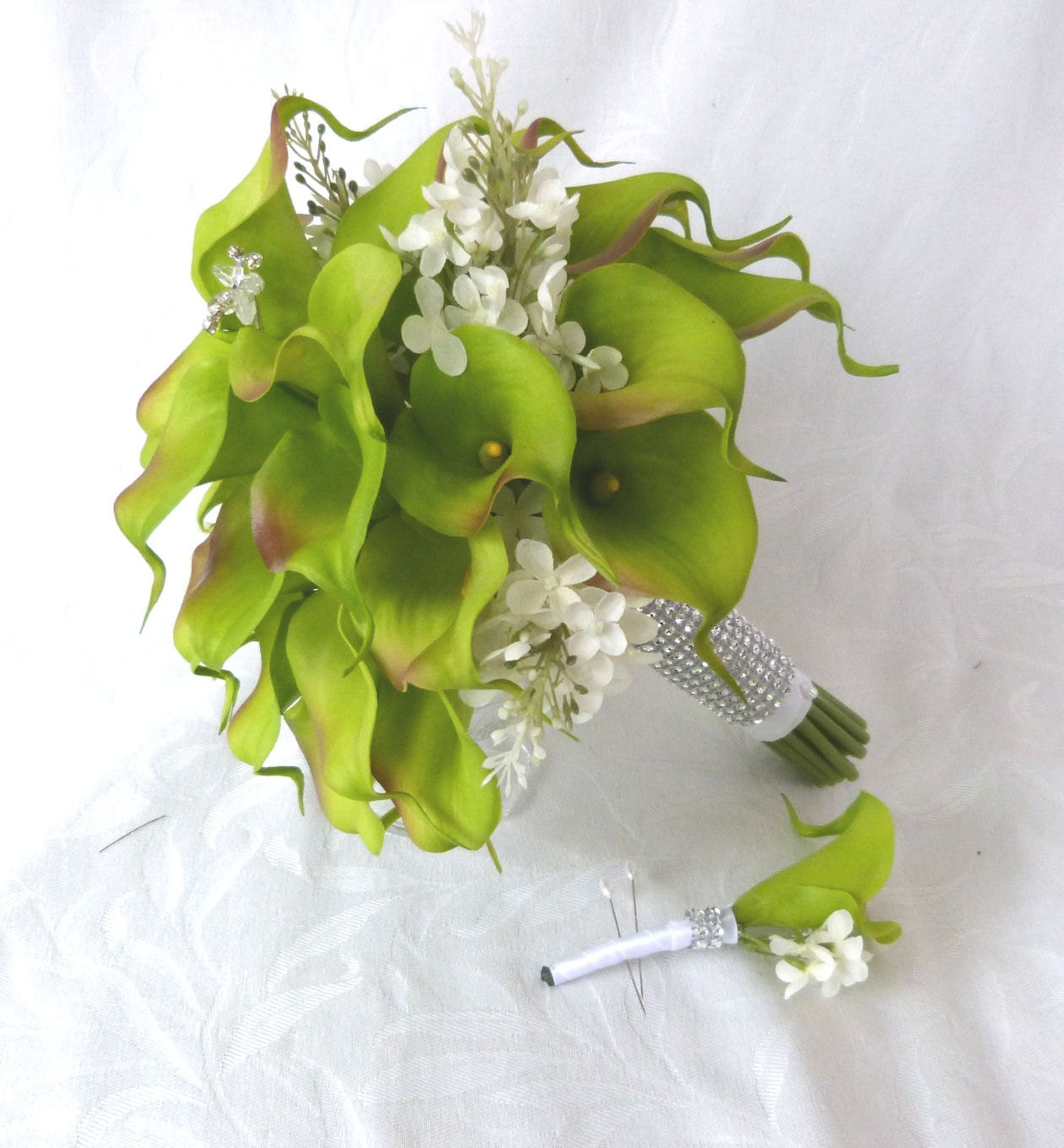Lily Flower Wedding Bouquet: Green Calla Lily Wedding Bouquet Simple Elegant Real Touch