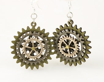 Gray and Green Triple Layered Spinning Kinetic Gears  - Laser Cut Wood Earrings