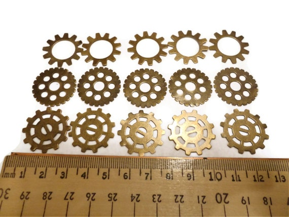 Steampunk Gears Cogs Wheels Discs Assemblage Altered Art Lot Ox Brass Large 25mm- Qty 15