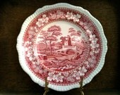 Vintage English Red and White Dinner Lunch Plate circa 1920's / English Shop