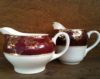Vintage English ceramic creamers mismatched set of 2 cream milk gravy custard jug pitcher circa 1940's / English Shop