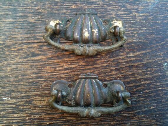 Antique English rusty drawer handles circa 1900's / English Shop