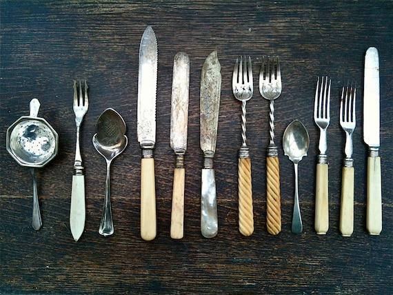 Antique English Dining Utensils Mixed Set Cutlery Silverware Flatware circa 1850-1920's / English Shop