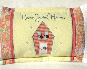 Spring colors Home Sweet Home pink and yellow embroidered pillow