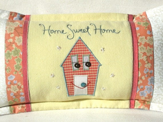 Home Sweet Home patchwork pillow in pink and yellow
