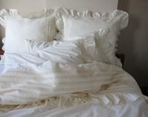 26x26 inch euro sham pillow/queen king ruffle bedding/ivory white  cotton-SHABBY chic bedding-ELEGANT ruffled standard sham-bobbin lace trim