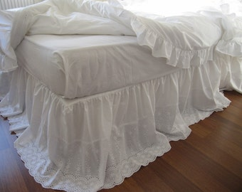 Lace bed skirt bedskirt - White eyelet lace cotton Dust ruffle - QUEEN KING Bed skirt scalloped edge - shabby chic romantic elegant bedding