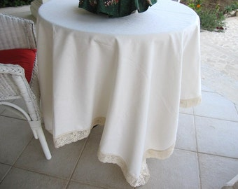 Tablecloth Cream ecru or white duck linen bobbin lace edge - shabby chic country style table cloth W 70 by L102,120,144