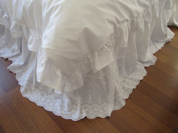 White Eyelet Cotton Dust Ruffle Bedskirt Queen Or By
