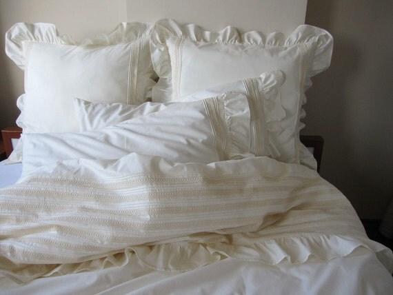 Pintuck Duvet Cover Ruffle Bedding Full Queen King Lace Trim