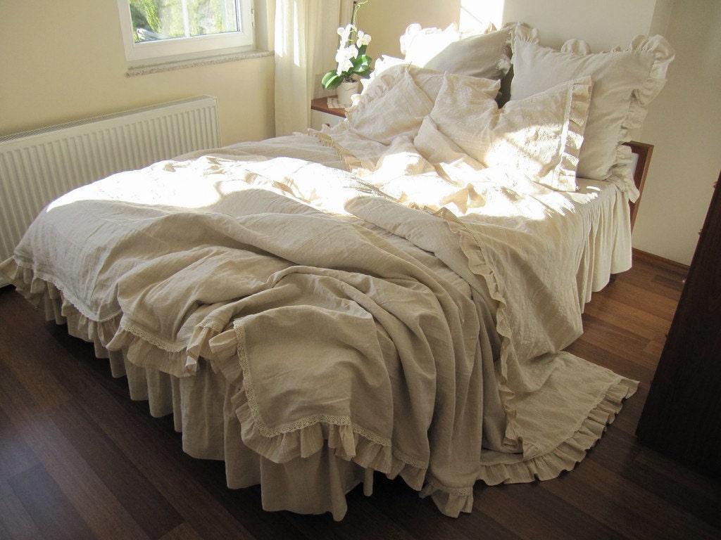 Queen Duvet Cover Beige Ecru Neutral Woven Cotton Linen Blend