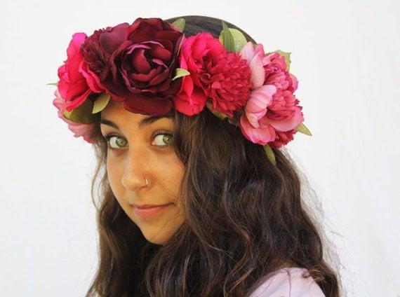Pink Flower Crown - Fuchia Rose and Deep Pink Flower Headdress. Bohemian Weddings, Fairy, Fae