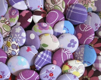 10 Fabric Covered Buttons - Purple - 2cm