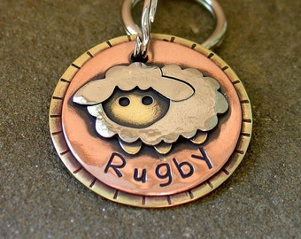 Dog ID Tag- custom pet id tag- peekaboo sheep