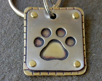 Rugged Paw Print Key Chain-not personalized