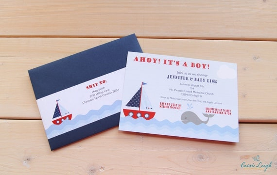 25 Nautical Baby Shower Invitation ONLY, no addressing or envelope