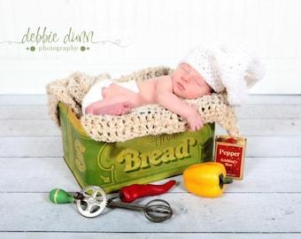 Crochet chef hat, newborn prop, photo prop