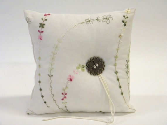 Modern Ring Pillow : Modern wedding ring pillow exquisite white by ClassyInteriorsDeco