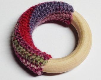Wool Crochet Wooden Sensory Teething Ring