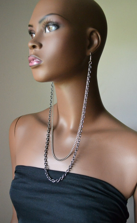 Silver and Gunmetal Earlace