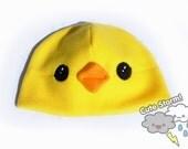 Yellow chick fleece beanie with plush beak