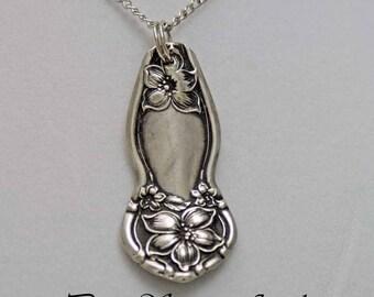 Spoon Jewelry, Spoon NECKLACE Pendant, Silverware Jewelry, 1910 Orange Blossom