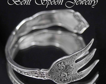 Fork Bracelet , Silverware Bracelet, Vintage Alhambra 1907, recycled Fork Cuff  Bracelet, Silverware Jewelry