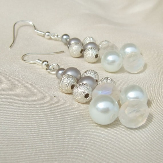 Silver, white, and crystal glass beads, pendant earrings
