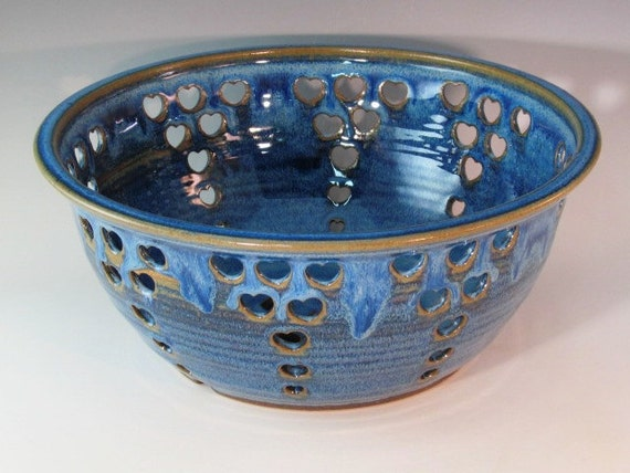 Blue Fruit Bowl With Cutout Hearts And Trimmed Bottom