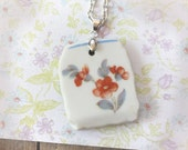 Red Floral Upcycled Broken China Necklace
