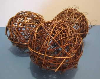 "Grapevine / Twig Balls - 4"" / 10cm - Brown - Set of 5"