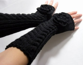 BLACK  LONG Fingerless Gloves, Merino Wool Mittens, Arm Warmers with cable patterns and crochet flowers, Hand Knitted, Eco Friendly