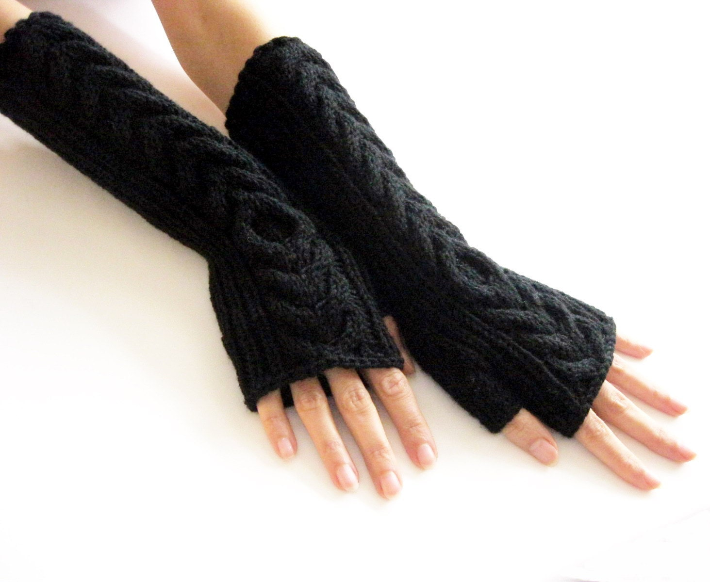 Black Long Fingerless Gloves Merino Wool Mittenswomen Winter