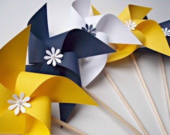 Paper Pinwheels in Nautical Colors. Wedding Decor. Navy Blue Yellow & White (set of 10)