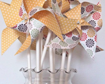 Handmade Paper Pinwheels. Wedding or Shower Decor. Yellow Polka Dots, Flowers (set of 20 small) Sun Zinnia
