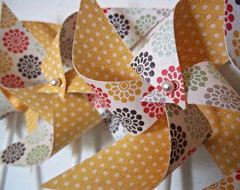 Handmade Paper Pinwheels. Yellow Polka Dots, Flowers (set of 8 small) Sun Zinnia